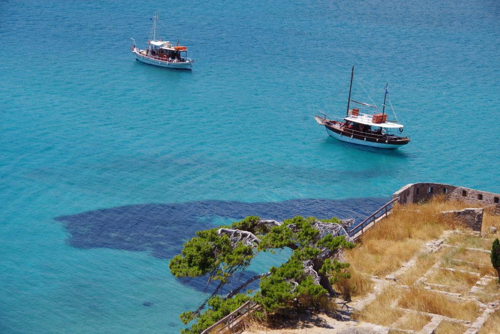 Wassertemperatur Kreta: Das Meer bei der Anlegestelle von Spinalonga
