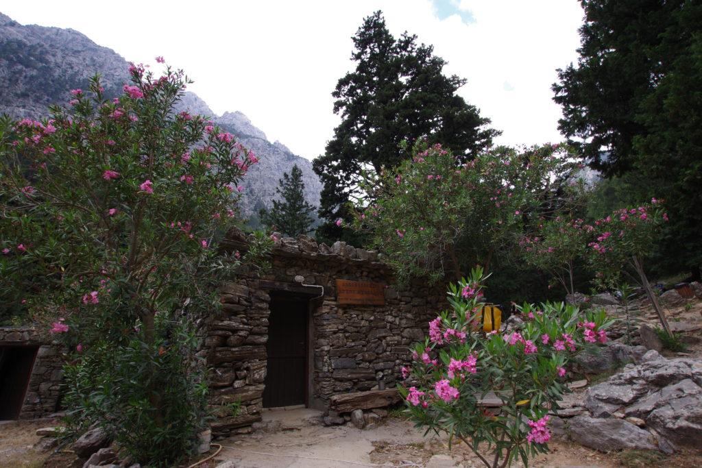 einfaches Steingebäude umrahmt von rosa blühenden Pflanzen unter einer großen Bergwand