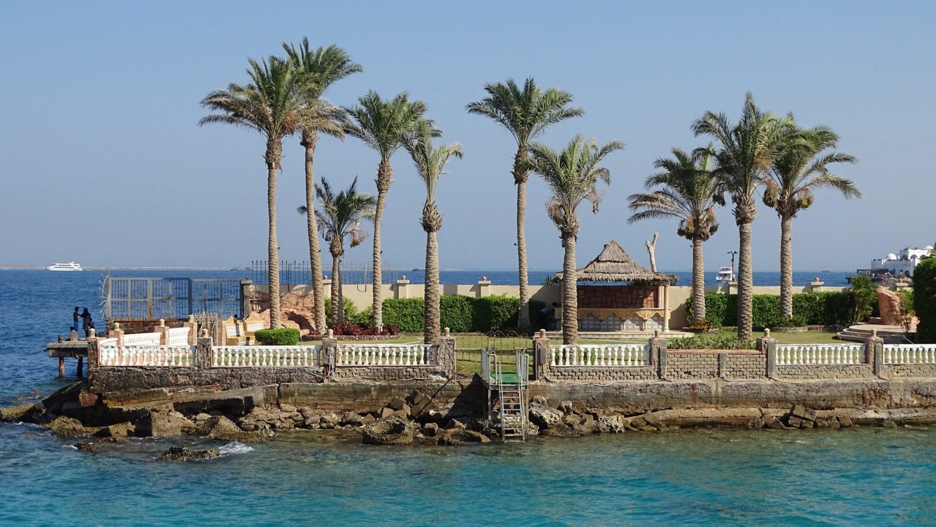 Wassertemperatur Ägypten: Palmen am Strand mit Korallenriff bei Hurghada