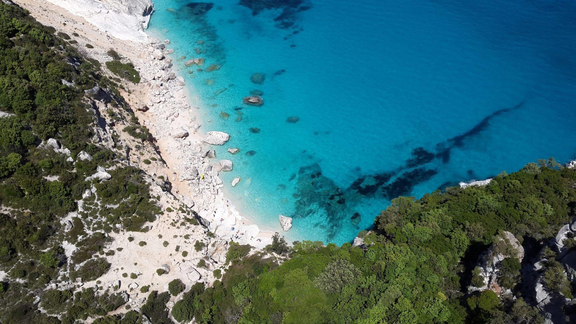Wassertemperatur Cala Millor: Helle Kalksteinbucht mit türkis-blauem Meer von oben, umrahmt von saftig grünen Baumkronen