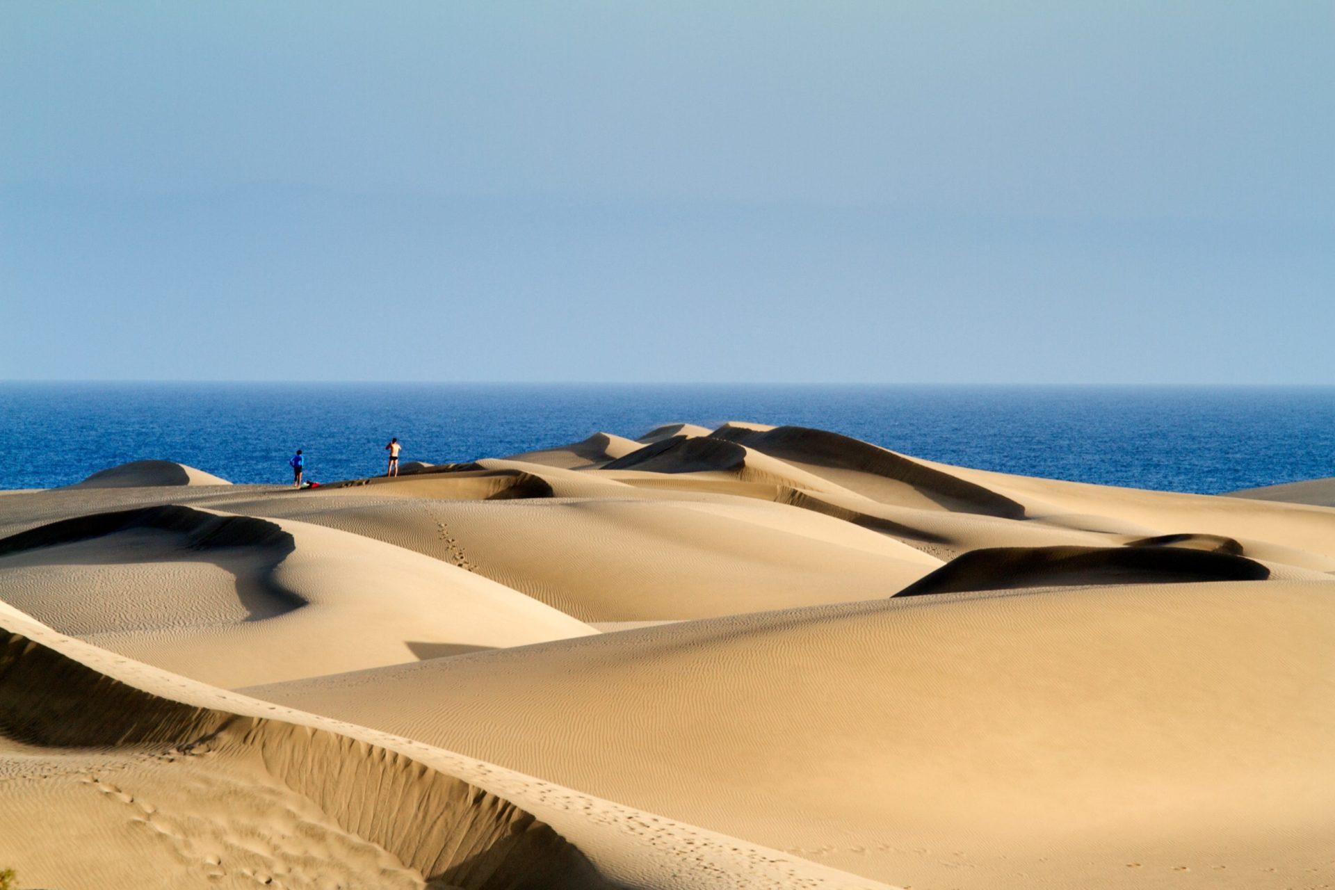 Wassertemperatur Gran Canaria:  Dünen von Maspalomas mit Atlantik im Hintergrund